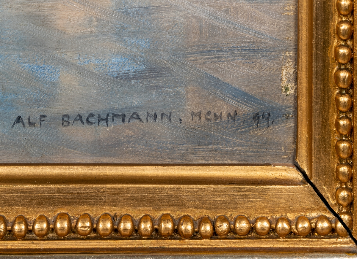 """Oljemålning av Alf Bachmann, """"Marin""""."""
