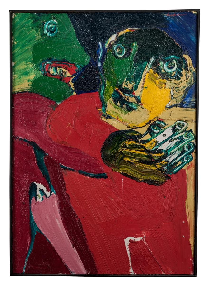 """Oljemålning på duk. Bengt Lindström """"Grannarna"""". Pastos med två stiliserade groteska figurer. Tjock färg. (Kat.kort)"""