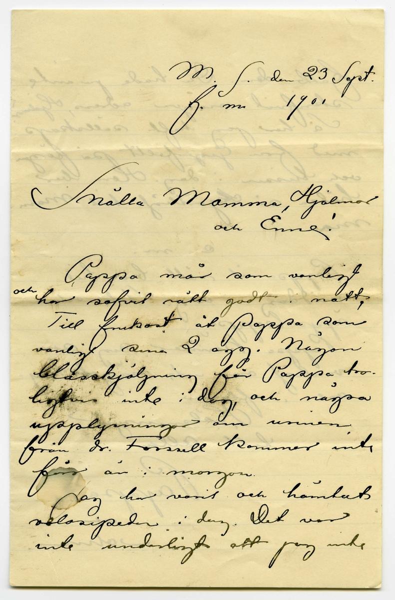 Brev 1901-09-23 från John och Joseph Bauer till Emma, Hjalmar och Ernst Bauer, bestående av tre sidor skrivna på fram- och baksidan av ett vikt pappersark. Huvudsaklig skrift handskriven med svart bläck. Handstilen tyder på John Bauer som avsändare.  . BREVAVSKRIFT: . [Sida 1] M.S. den 23 Sept. f.m. 1901 Snälla Mamma, Hjalmar och Enne! Pappa mår som vanligt [inskrivet: och] har sofvit rätt godt i natt. Till frukost åt Pappa som vanligt sina 2 ägg. Någon blåsskjöljning får Pappa tro- ligtvis inte i dag, och några upplysningar om urinen från dr. Forsell kommer inte förr än i morgon. Jag har varit och hämtat velosipeden i dag. Det var inte underligt att jag inte . [Sida 2] fått den. Du hade ju inte skrifvit någon adress, Hjalmar! Så har jag haft sällskap med fru Gegerfellt på färgan och bussen i dag. Hon ber hälsa så [överskriven bokstav] hjärtligt till Mam- ma. e.m. Pappa åt rätt bra till middag i dag. Stek och äppelsoppa. Pappa känner sig som vanligt om inte något kry- are i afton Hälsningar till alla Pappa och John.