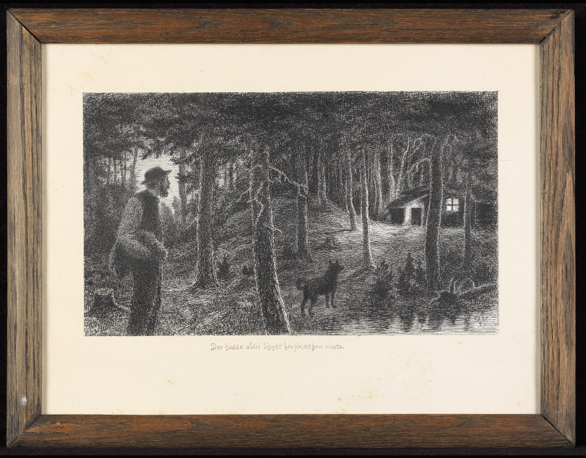 Mørkt skogsinteriør, mann tilv., hund, hus tilh.