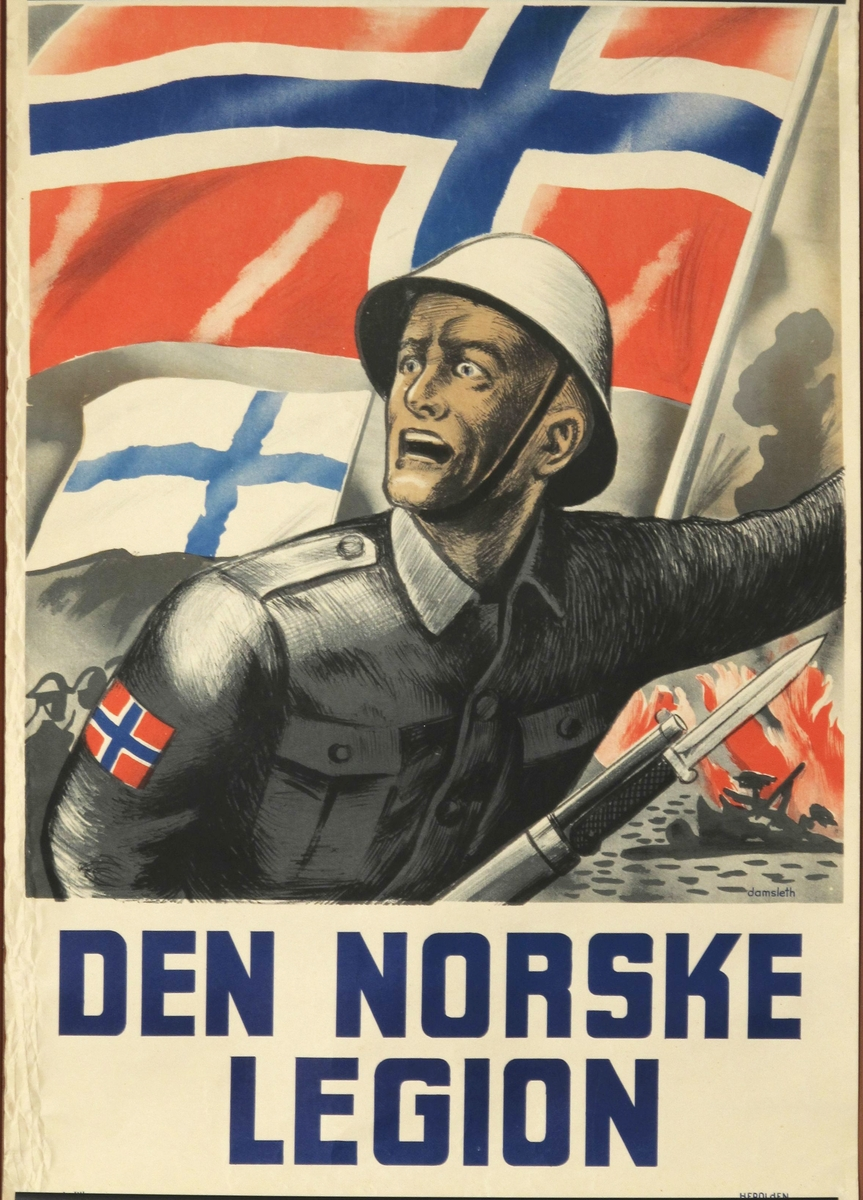 Soldat med norsk flagg på ermet med påsatt bajonett, mot en bakgrunn av norsk flagg, finsk flagg og brann. Tekst under i blått.