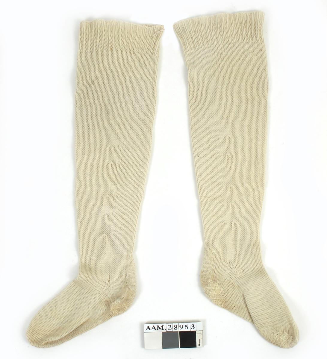 Undertøysett, maskinstrikket og fabrikkprodusert av ull.  Deler:  a) Trøye   b) bukse   c-d ) strømper