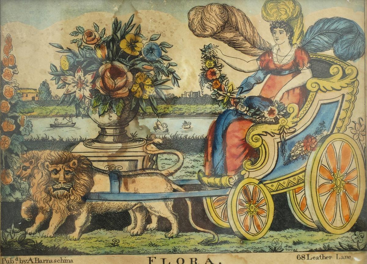 Gudinnen Flora på kjøretur, i en firehjulet vogn, trukket av to løver.Vognen er pyntet med blomsterguirlandere, gudinnen er pyntet med store fjærer, En stor blomsterurne er plassert foran et v ann med båter.