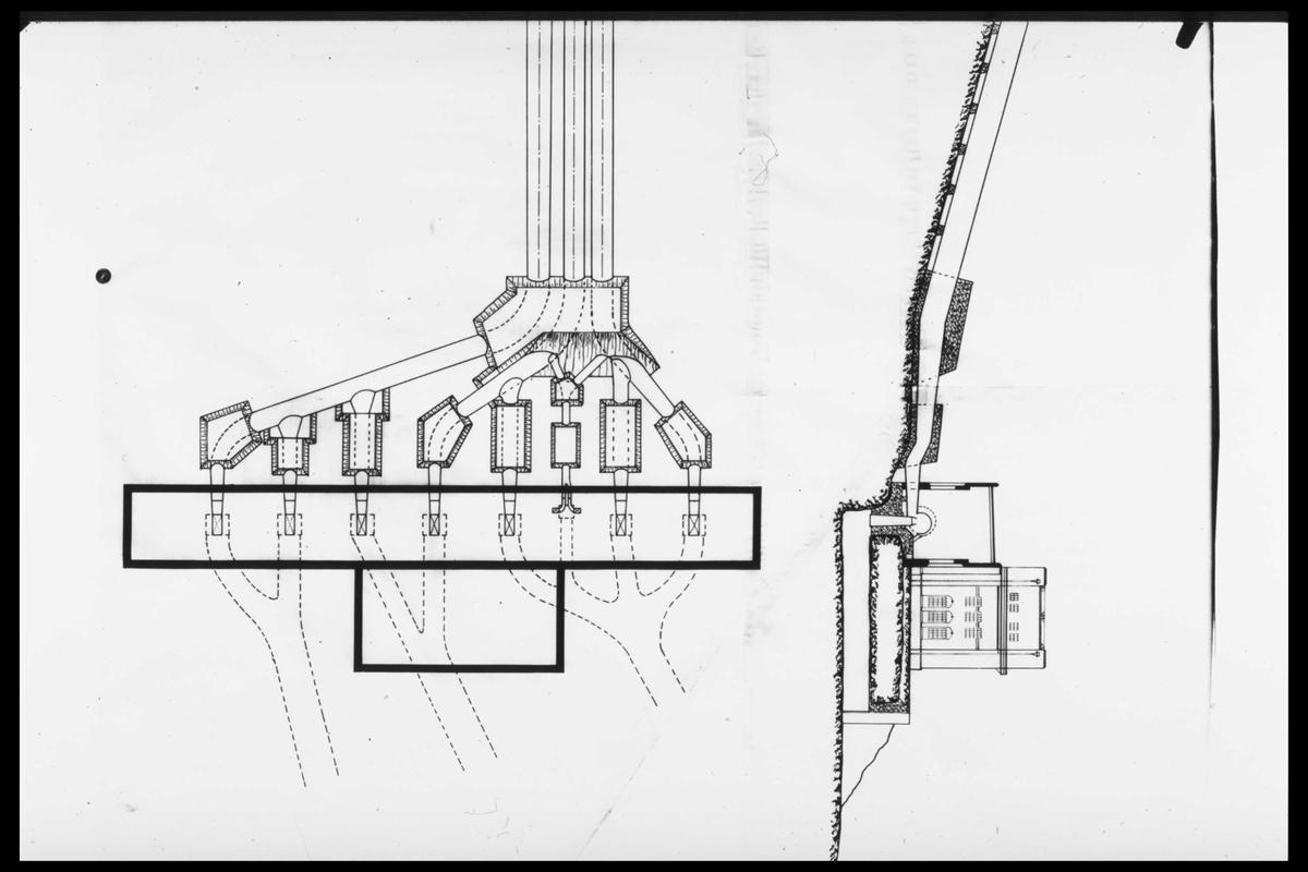 Arendal Fossekompani i begynnelsen av 1900-tallet CD merket 0469, Bilde: 46 Sted: Bøylefoss Beskrivelse: Skisse kraftstasjon med rørgate