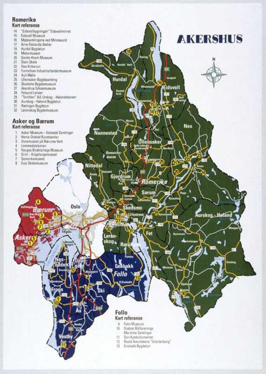 Kart over Akershus, repro.
