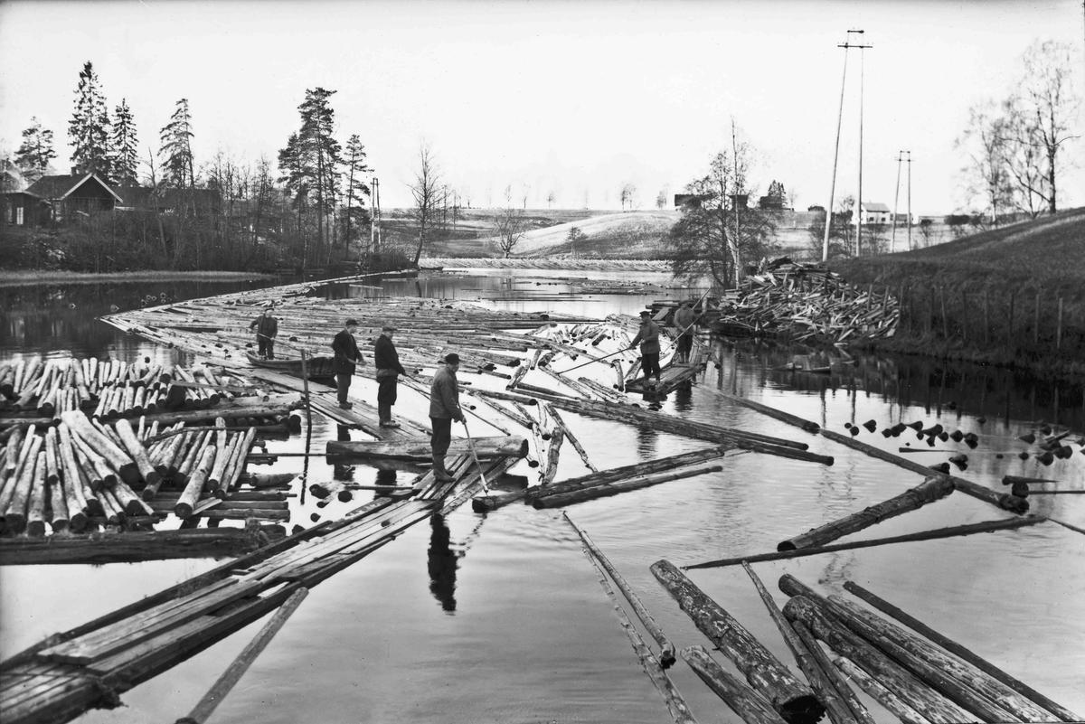 Fløting av tømmer i Andelva i 1953.