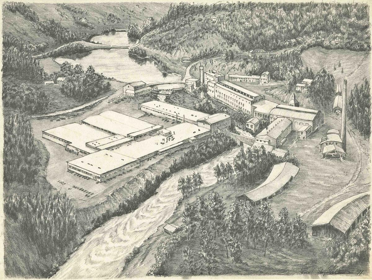 Avfotografert tegning av Bønsdalen. Bygninger fra ulike tidsperioder. Tegnet i 1991 av Fred Skjelstad.
