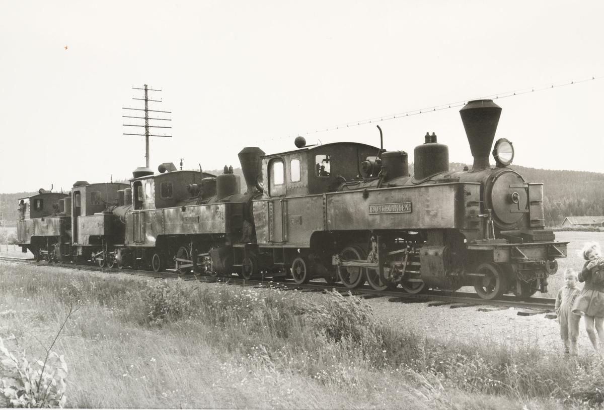 Lokomotivene er trukket ut på linjen mellom Bjørkelangen og Hornåseng for fotografering.
