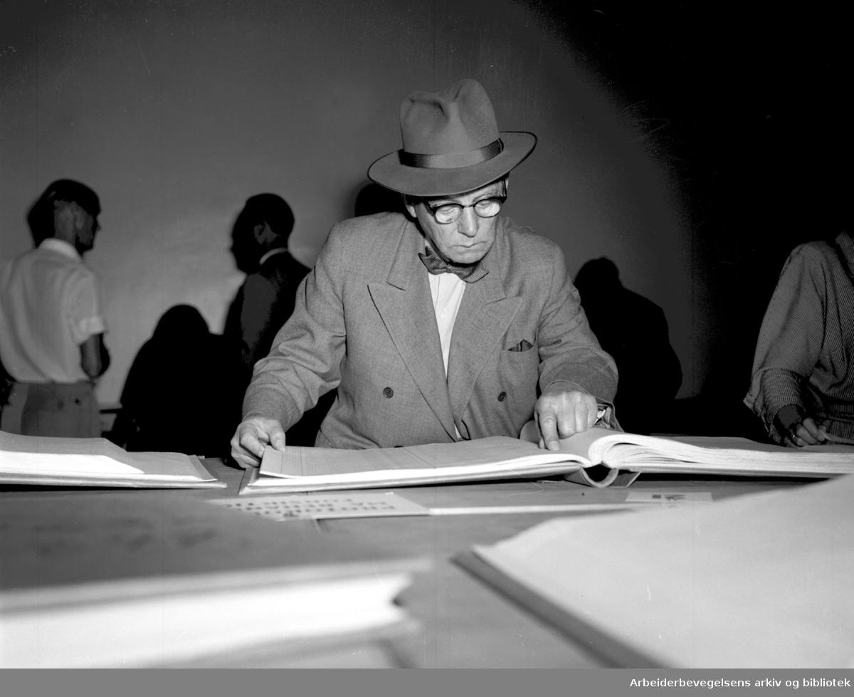 Ligningsprotokollene er lagt ut,.august 1955
