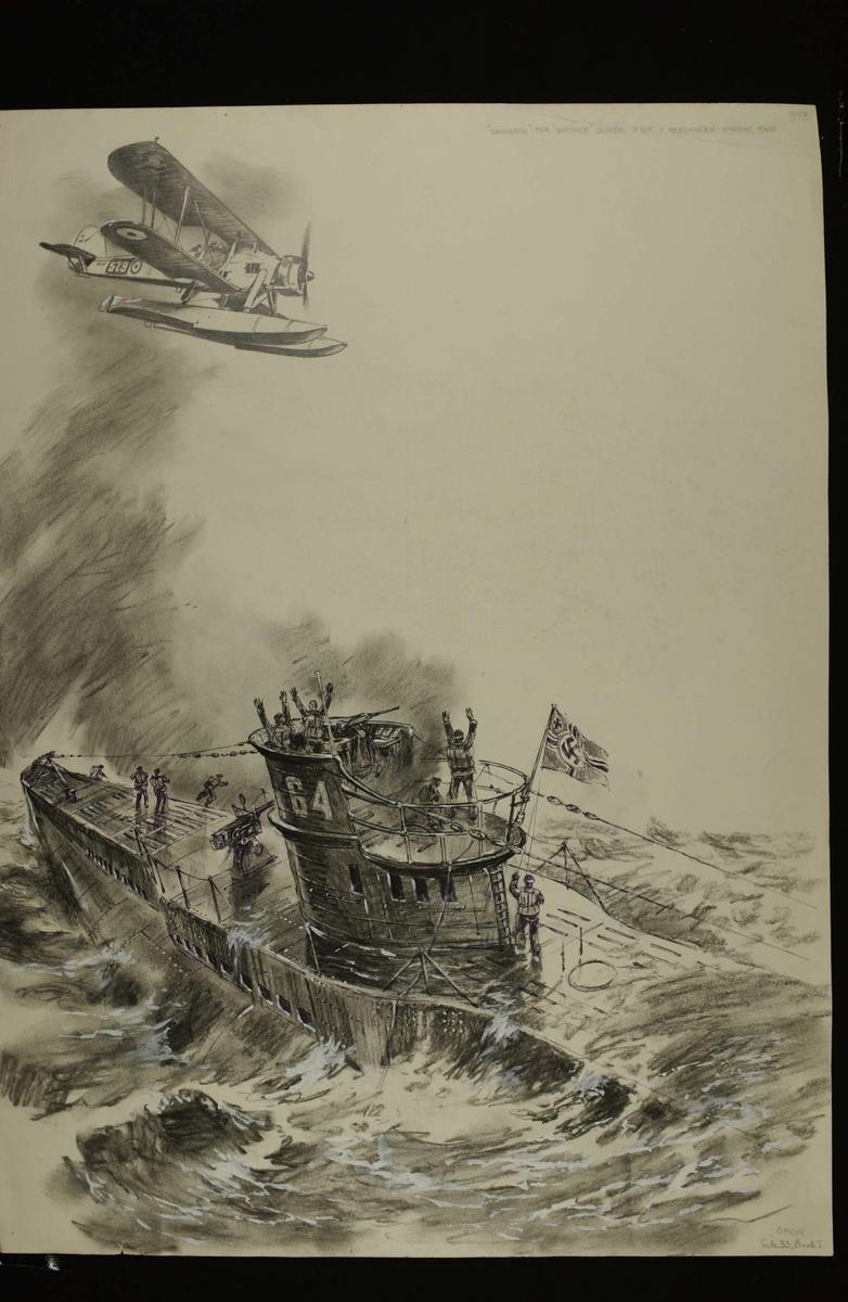 """Den tyske ubåt """"U-64"""" blir senket med torpedo av """"Warspites"""" Swordfish-fly i Herjangsfjorden ved Bjerkvik. Kampene i Norge 1940, bind 2, side 195."""
