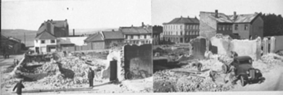 Opprydningsarbeid på Østre Torg etter bybrannen, lastebilen tilhørte vognmann Ole Nordeng, oversikt mot Mjøsa. Hamar Avholdsforenings gård til høyre sto merkelig nok urørt.   Se blant annet 0401-02471, 0401-02526, 0401-05067, 0401-02920, 0401-05965 og 0401-00581 for andre bilder.