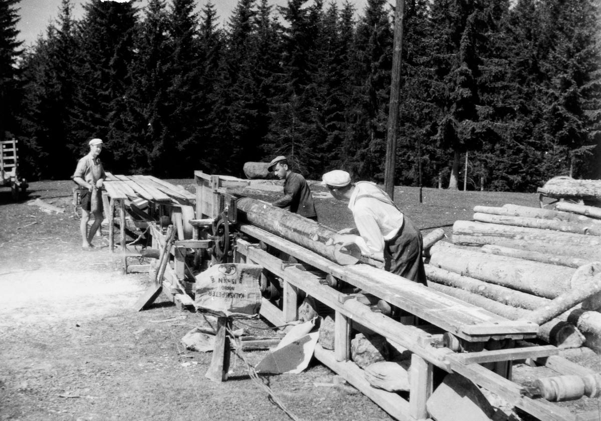 Gardssag. Saging av tømmerstokker til materialer. Ukjent sted. 1950-årene.