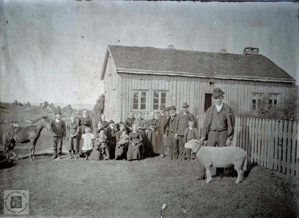 Familiebilde utenfor huset med hest og sau.