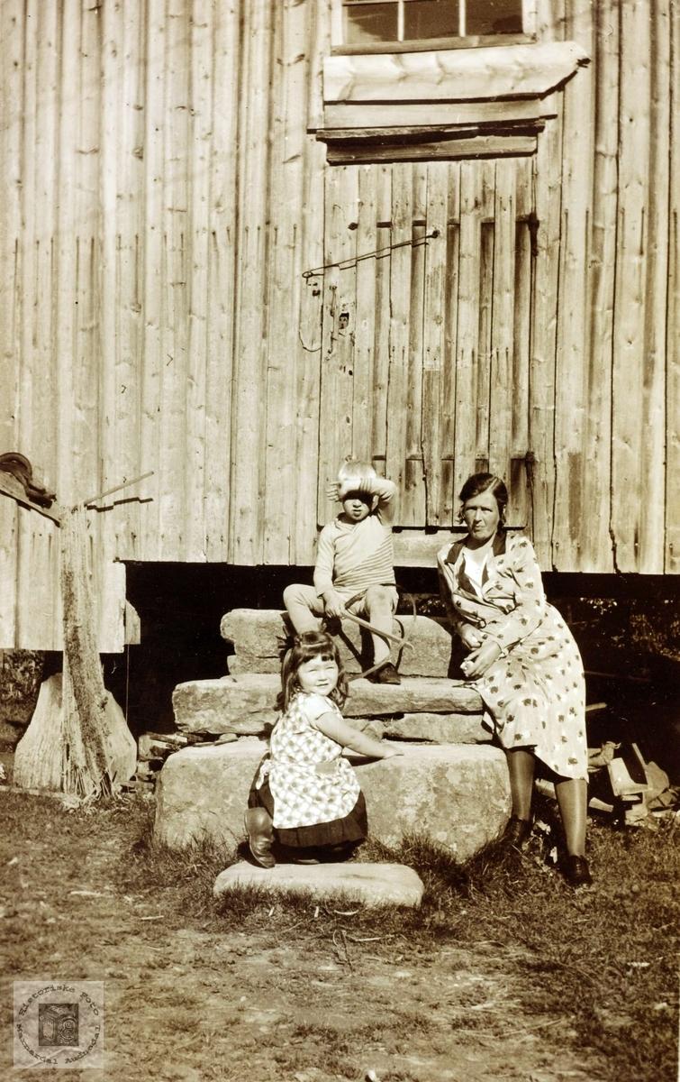 Folk fra Hårtveit på stabburstrappa.