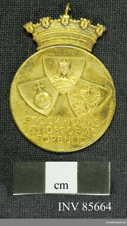 Grupp M. Medaljen cirkelformig under en murkrona. Åtsidan: 3 sköldar. upptagande medaljens övra parti; överst Stockholms stads, till venster Upplands och till höger Södermanlands vapen och placerade så, att Stockholms stads sköld med sin runda spets delvis täcker de båda andra. Under sköldarna: STOCKHOLMS LANDSTORMSFÖRBUND på tre rader. Frånsidan: NN Liedfeld 1930 på 2 rader, omgivet av en öppen lagerkrans. Sign SK Bandet gult med 4 smala blå ränder i längdriktningen. Material: förgyllt silver Beskr: Prn  Frånsidan: FÖR FÖRTJÄNSTER OM SVERIGES LANDSTORM på 4 rader. Därunder landstormsmärket, omgivet av Sveriges tre kronor.  Bandet mellanblå ribb med 4 smala gula ränder i bandets längdriktning.