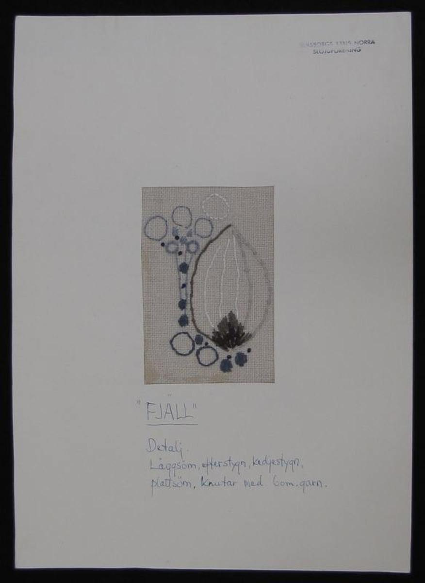 Broderiprov ''Fjäll''.  Framtaget av Älvsborgs läns norra slöjdförening på 1950-talet där Ingrid Wikmar Seklis var drivande.