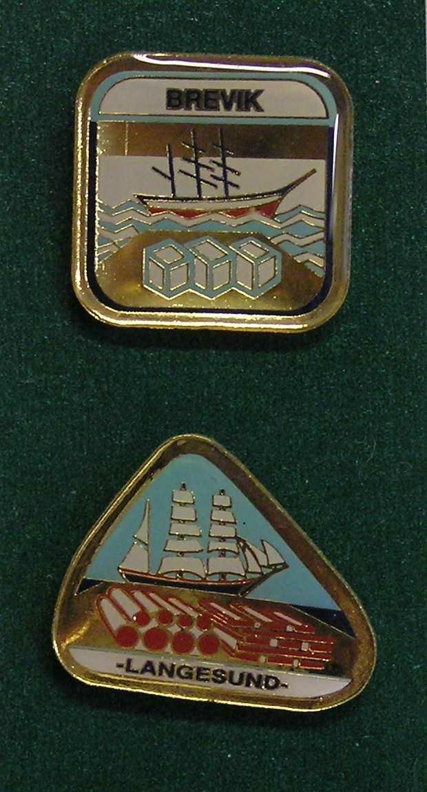 Skien = helleristning, Porsgrunn = porselsfabrikken, Brevik = skarpseilerne, Langesund = utskipningshavn, Kragerø = skipsbyggerverftene og Portør = kompassrosa