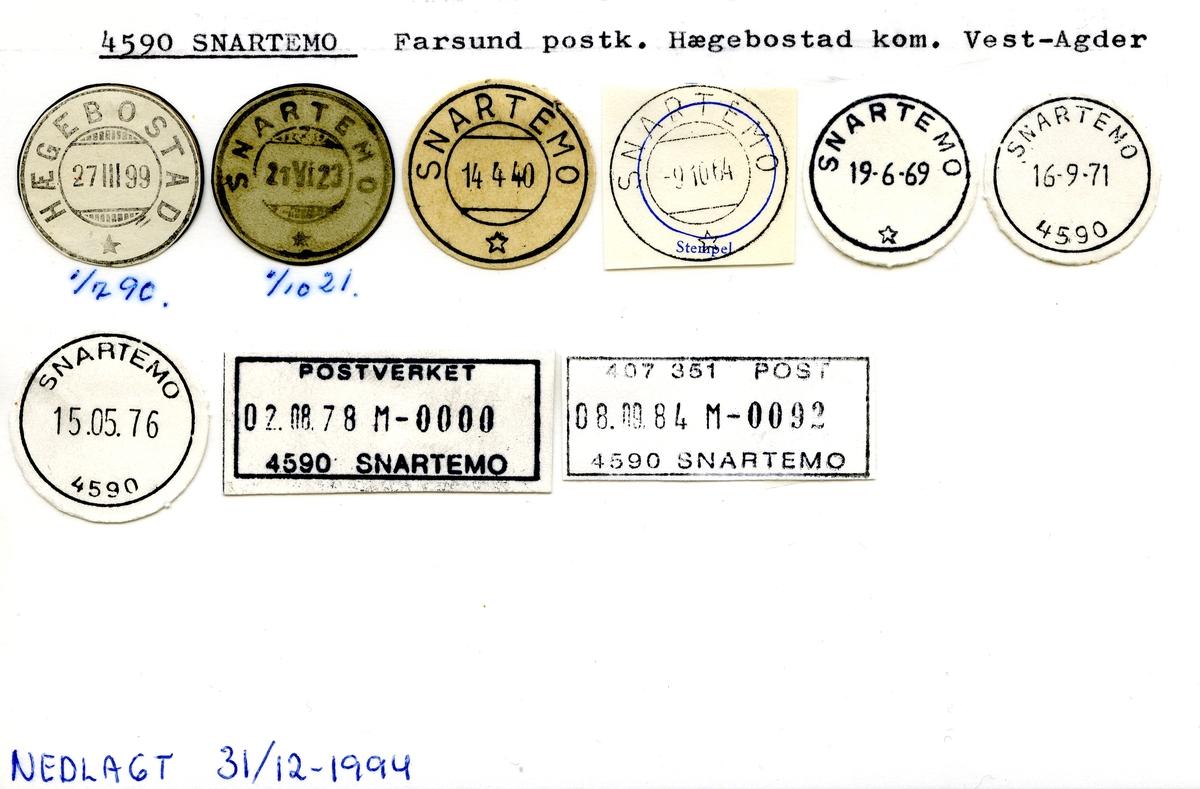 Stempelkatalog  4590 Snartemo, Hægebostad kommune, Vest-Agder