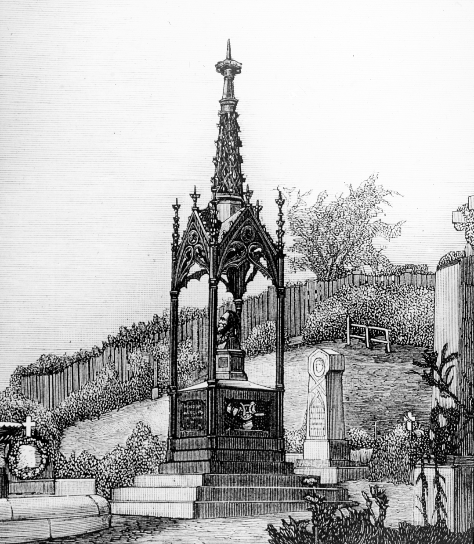 Henrik Wergeland: Tegning av Wergelands grav, Vår Frelsers Gravlund