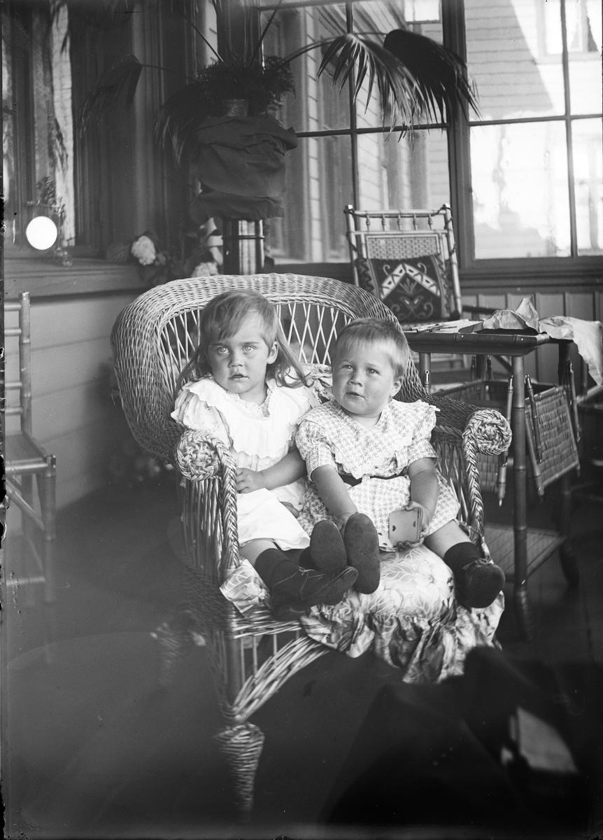 En gutt og en jente sitter i en kurvstol. De er fortografert på en veranda. I bakgrunnen sees vinduer inn til huset og blomstrende hortensiaer.