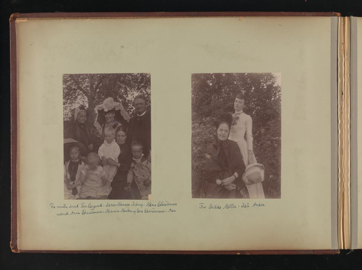 Albumside 11 av grågrønn kartong med to bilder: 1) gruppebilde 2) Fru Dikka Möller og Kati Anker.