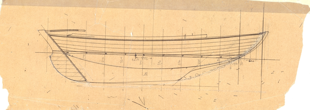 EJDERN, 15 kvm pojkbåt ritad av Erik Salander 1926.  Profil.