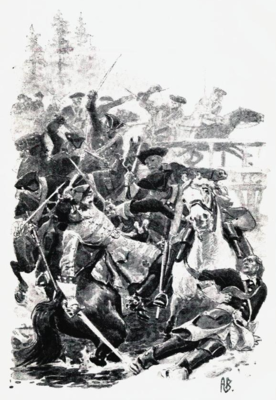 Tegning av Oberst Kruses kamp med Karl XII i Høland