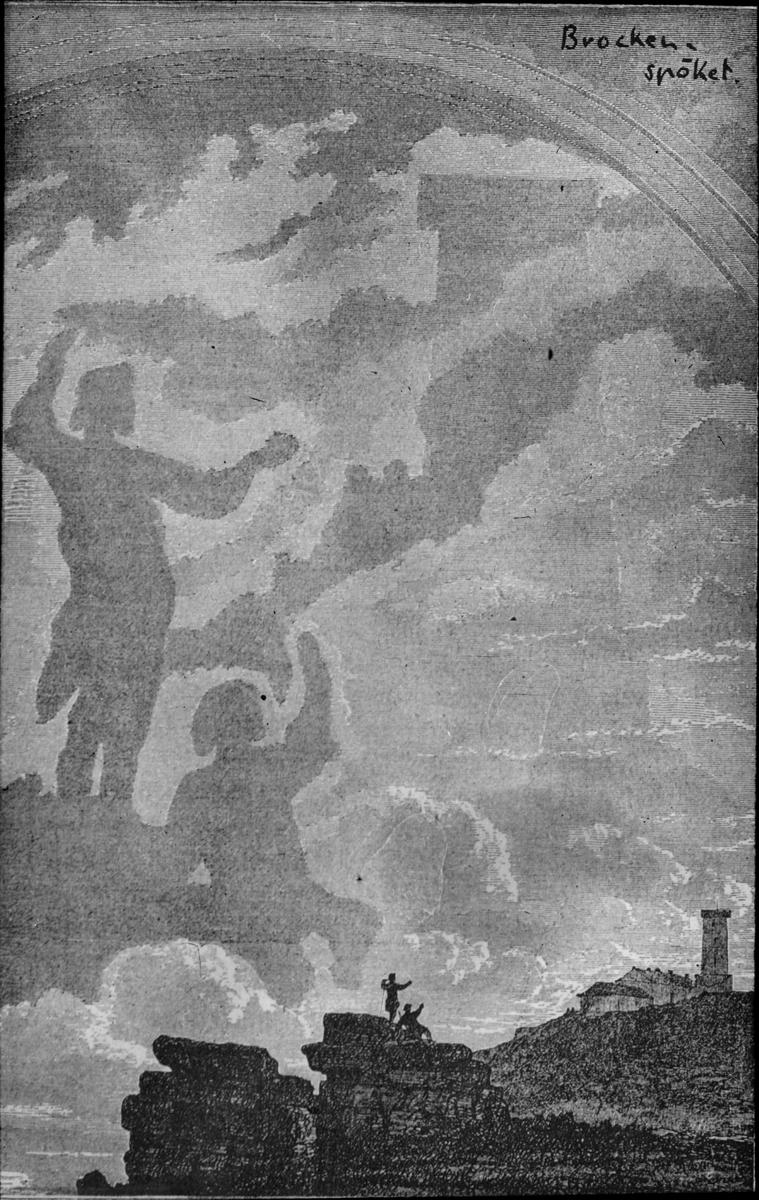 Skioptikonbild med motiv rörande olika typer av moln. Spöken.