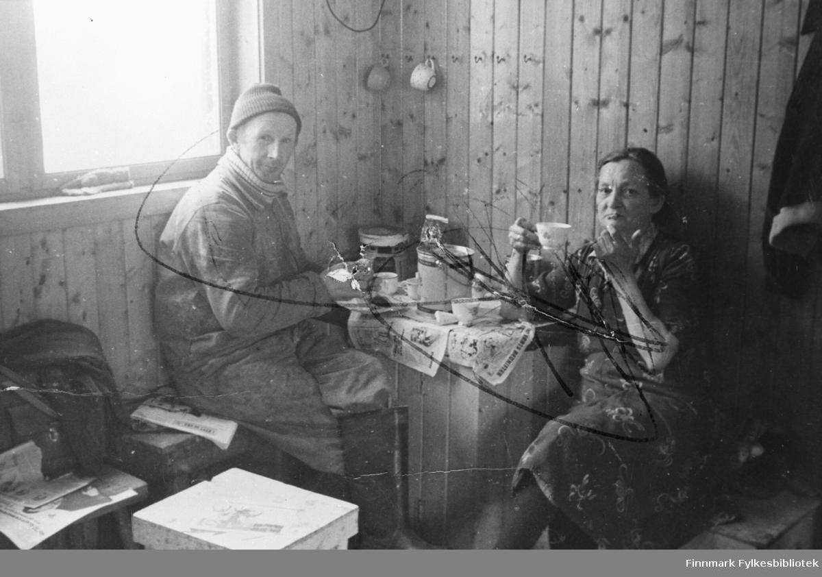 Egnere i Kiberg. Fra venstre.: Sverre 'Amerikaner' og Fransiska Kristiansen.