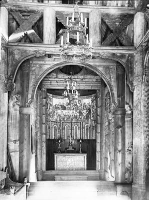 Interiøret i Gol stavkirke, 1880-årene.