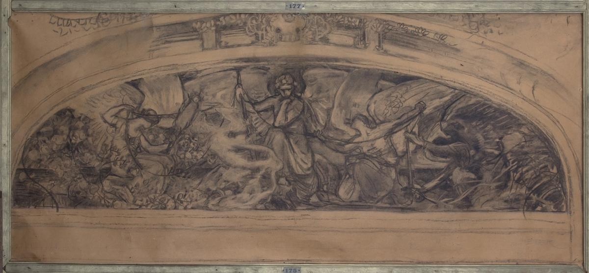 Eros och Ödesgudinnorna avbildade i arkitektonisk omgivning. Eros avbildad i helfigur sittande. Ena handen stödjer huvudet och i den andra håller han livets tråd och ett oidentifierat föremål. På var sida om honom ödesgudinnor som också håller i livets tråd.