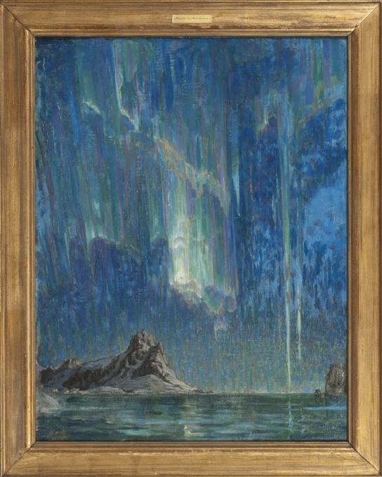 Sommaren 1901 besökte Anna Boberg för första gången ögruppen Lofoten i nordvästra Norge. Fjällnaturen, norrskenet och midnattssolen gjorde ett oerhört intryck på henne. Hon återvände ett trettiotal gånger, sommar som vinter, för att måla under olika ljusförhållanden. I ett stort antal målningar och skisser, ofta på papp, har Boberg avbildat fiskelägen, fjällmassiv och atmosfäriska fenomen – som här i norrsken. Målningarna från Nordnorge fick negativ kritik i Sverige, men väckte positiv uppmärksamhet utomlands.