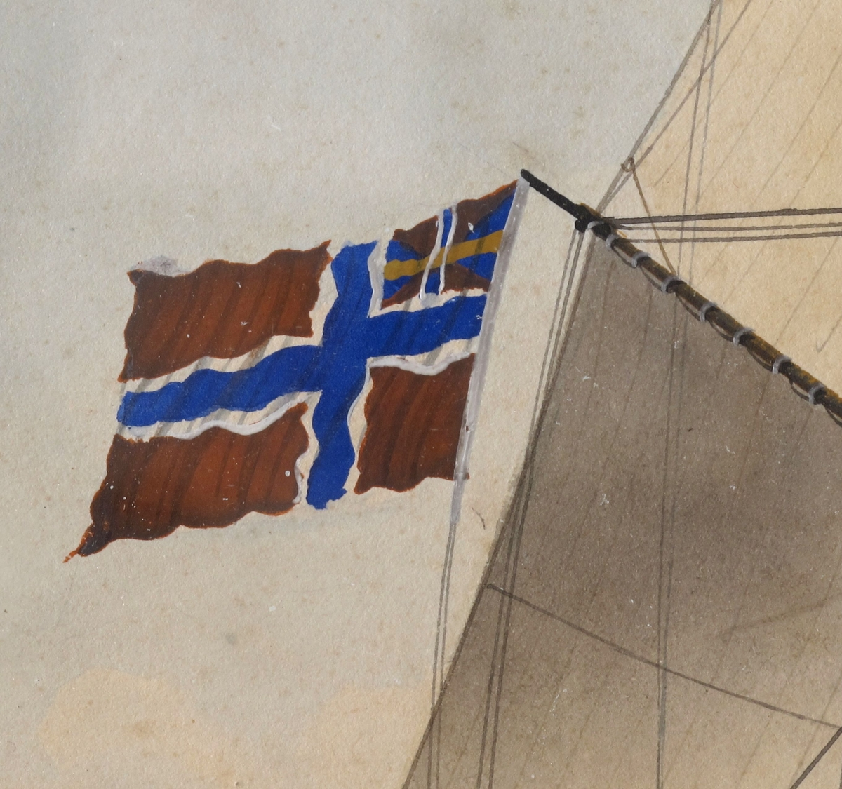 """Bark Veritas af Arendal, ført av Capt. H. A. Andersen. For fulle seil mot høyre, unionsflagg  under gaffelen blå vimpel m. """"Veritas"""" i hvitt, blått, rødt flagg m. N. 44  i hvitt felt. Sign. n. t. h. Tekst i marg under bildet."""