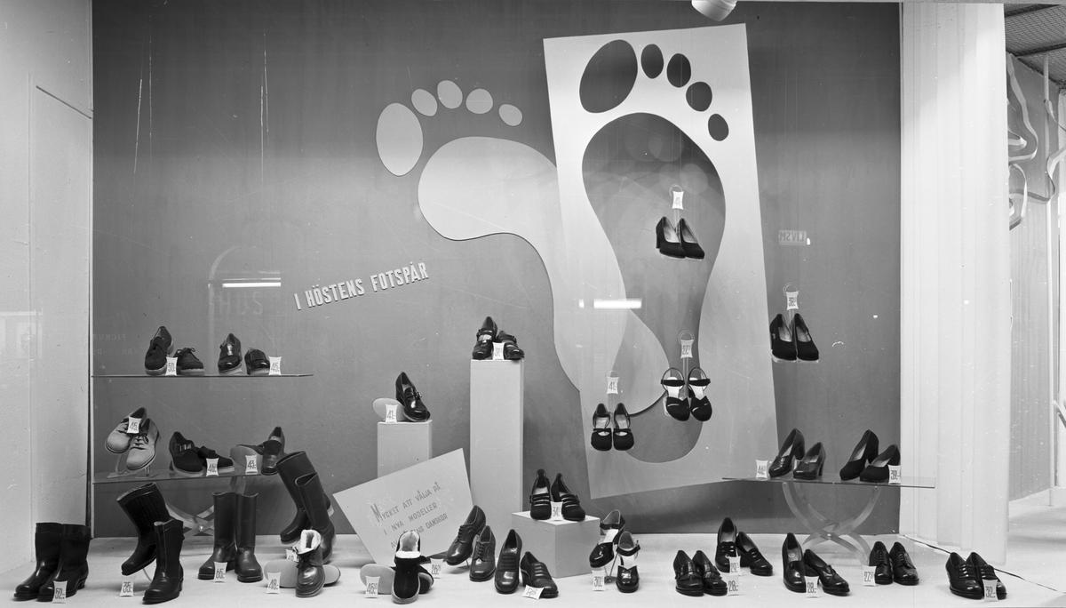 "Konsum Alfa Varuhuset. Skyltfönstertema ""Skofönster"". Den 25 september 1949"