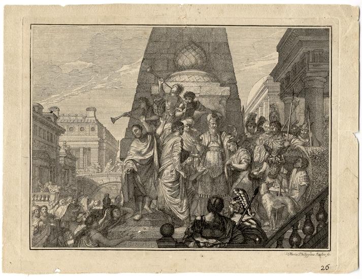 Kopparstick. Bibliska allegorier.  Förgylld ram (saknas).   Inskrivet i huvudbok 1879. Montering/Ram: Ej inramad
