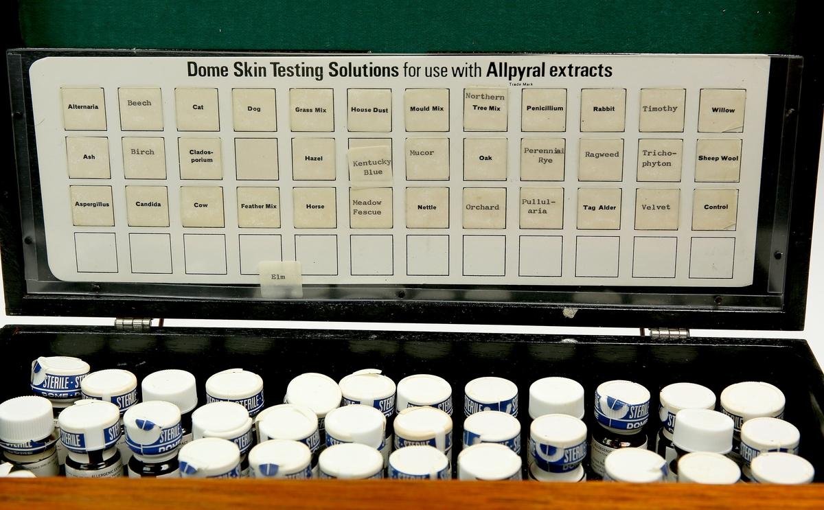 Komplett utstyr for hudtester ved allergiundersøkelser. Kasse avlang