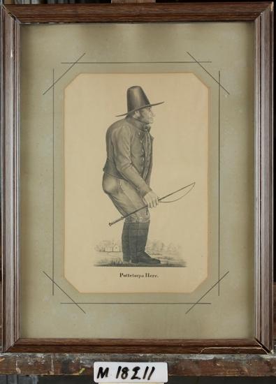 """Akvarellmålning. Man i hatt och storstövlar. Profil.  Porträtt av bonden """"Puttetorpa here."""" Jöns Abrahamsson, Puttetorp, Västra Torsås."""