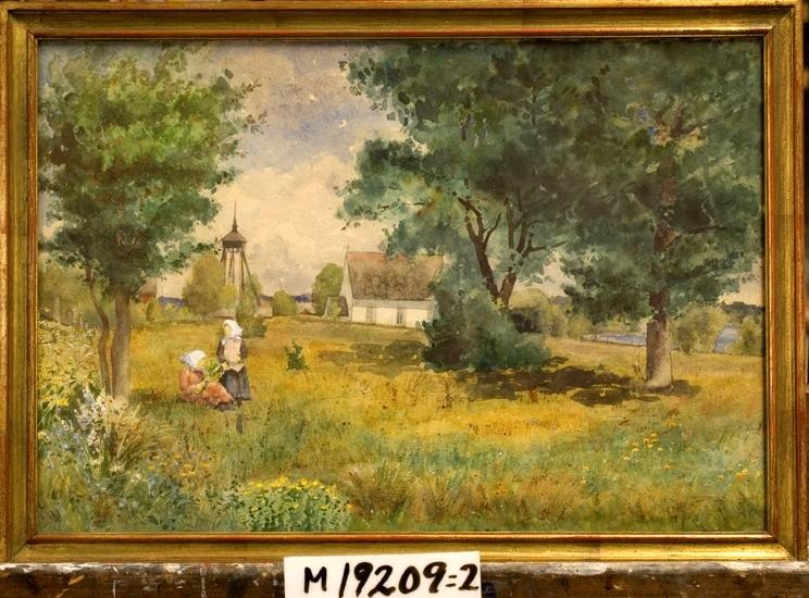 Akvarellmålning. Flickor i gräset vid Öjaby kyrka. I bakgrunden syns en mindre stenkyrka med klockstapel.