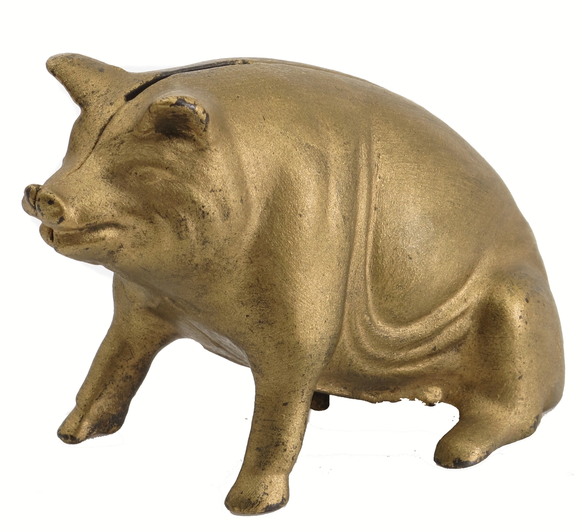 Sparegris av støpejern, forgylt. Sittende gris med oppreiste forben,  støpt i to halvdeler,  pengespalte i nakken,  stor skrue gjennom høyre side.  Jern.  Innhold ett- og tiører.