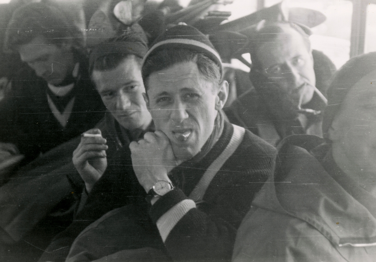 Athlete Petter Hugsted on a bus