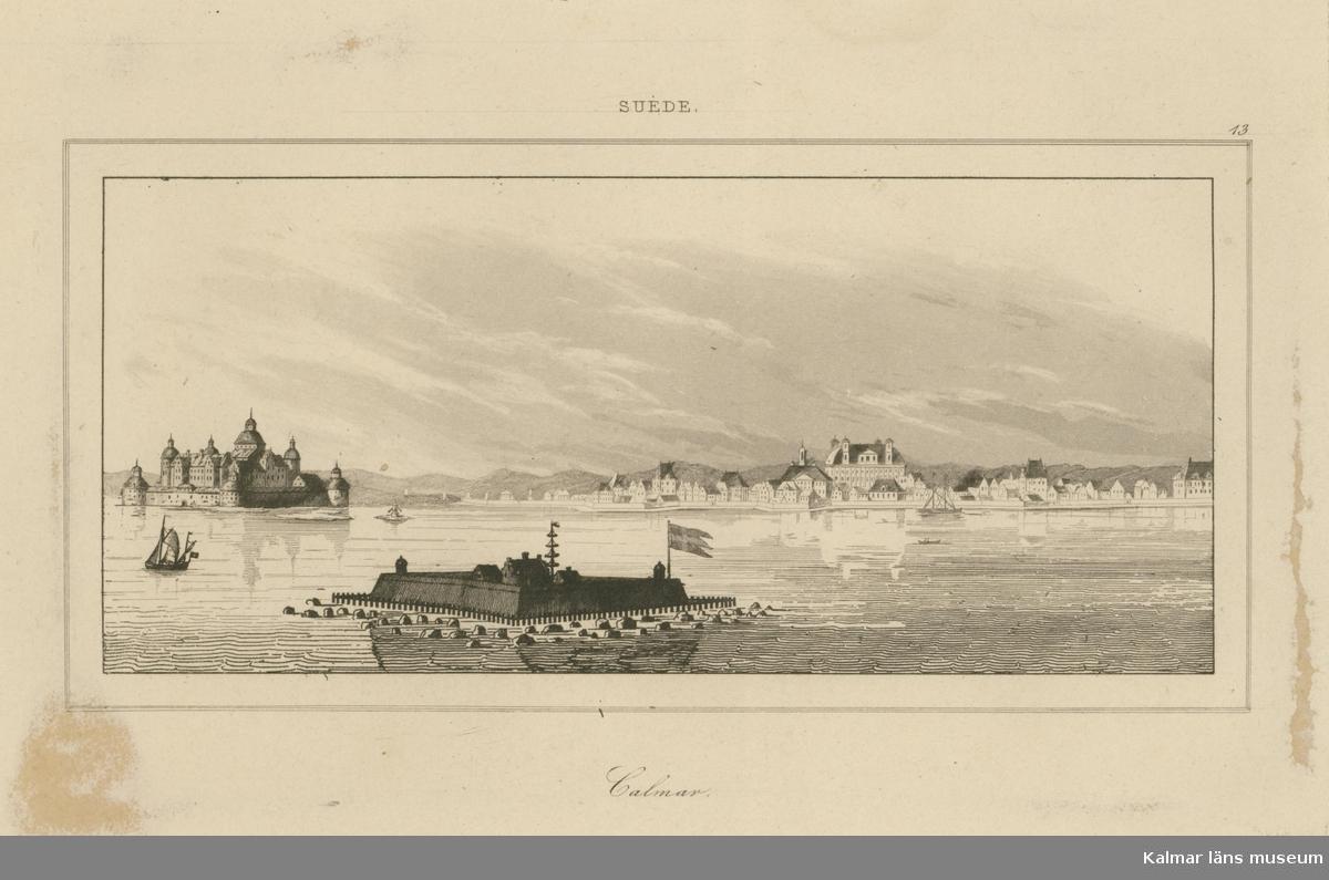 Kopparstick på Kvarnholmen och slottet i bakgrunden och Grimskär i förgrunden.