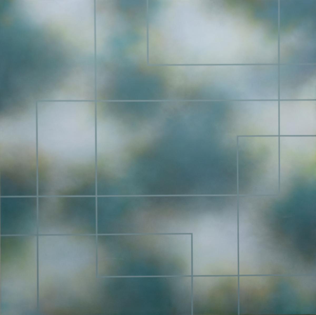 Motivet viser horisontale og vertikale striper som svever mot en ulmende og ufokusert blåfarget bakgrunn. De ulike bildeplaner settes opp mot hverandre og skaper med det en spenning i billedflaten mellom det forestillende og det abstraherte.