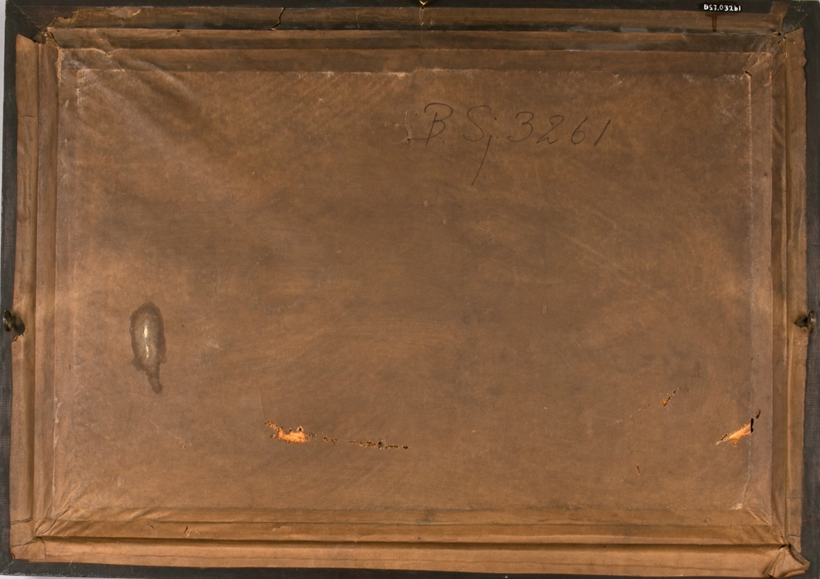 Silk picture av bark CASTELAR. En losbåt med seil merket med nummer 19 sees akter og et fyrtårn samt et lite dampskip sees foran baugen til CASTELAR.