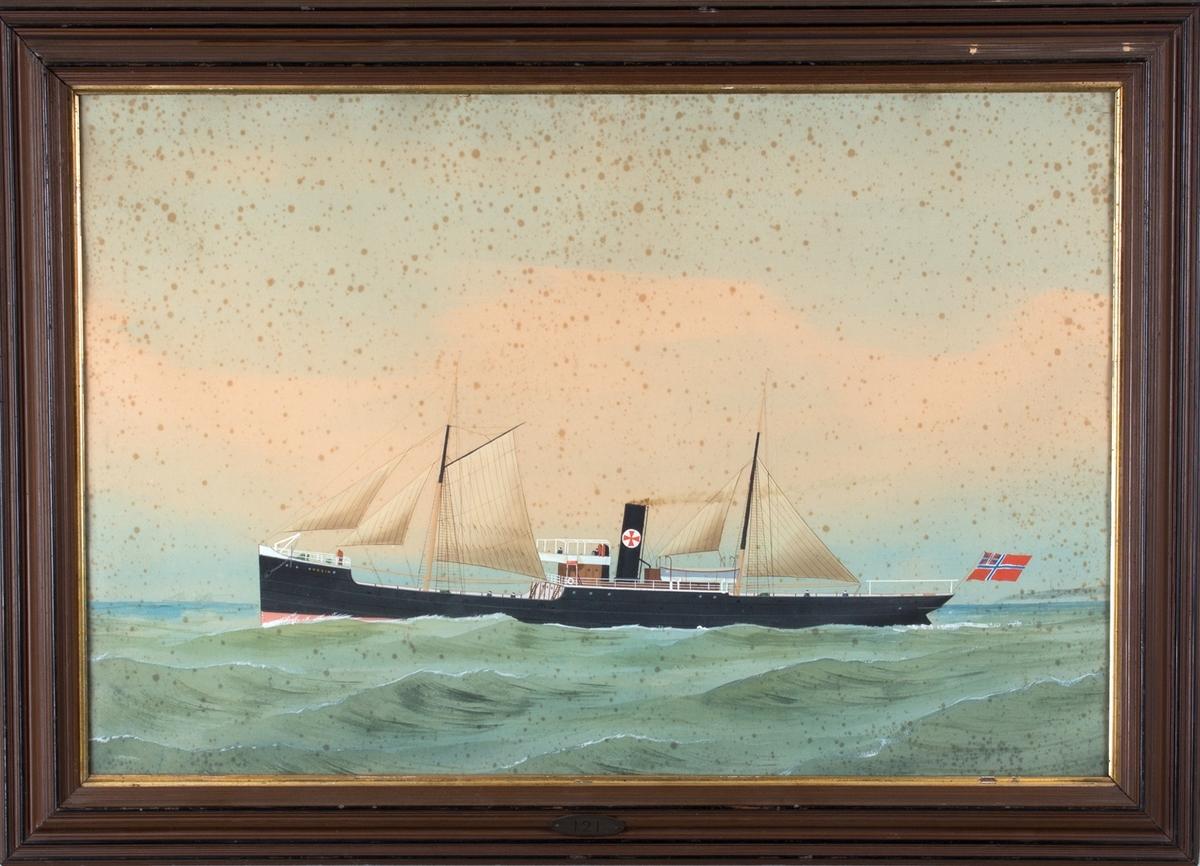 DS HUGIN for full seilføring og damp på åpent hva. I akter fører skipet norsk-svensk unionsflagg. Skorsteinsmerket tilhører Joh. E. von der Ohes rederi.