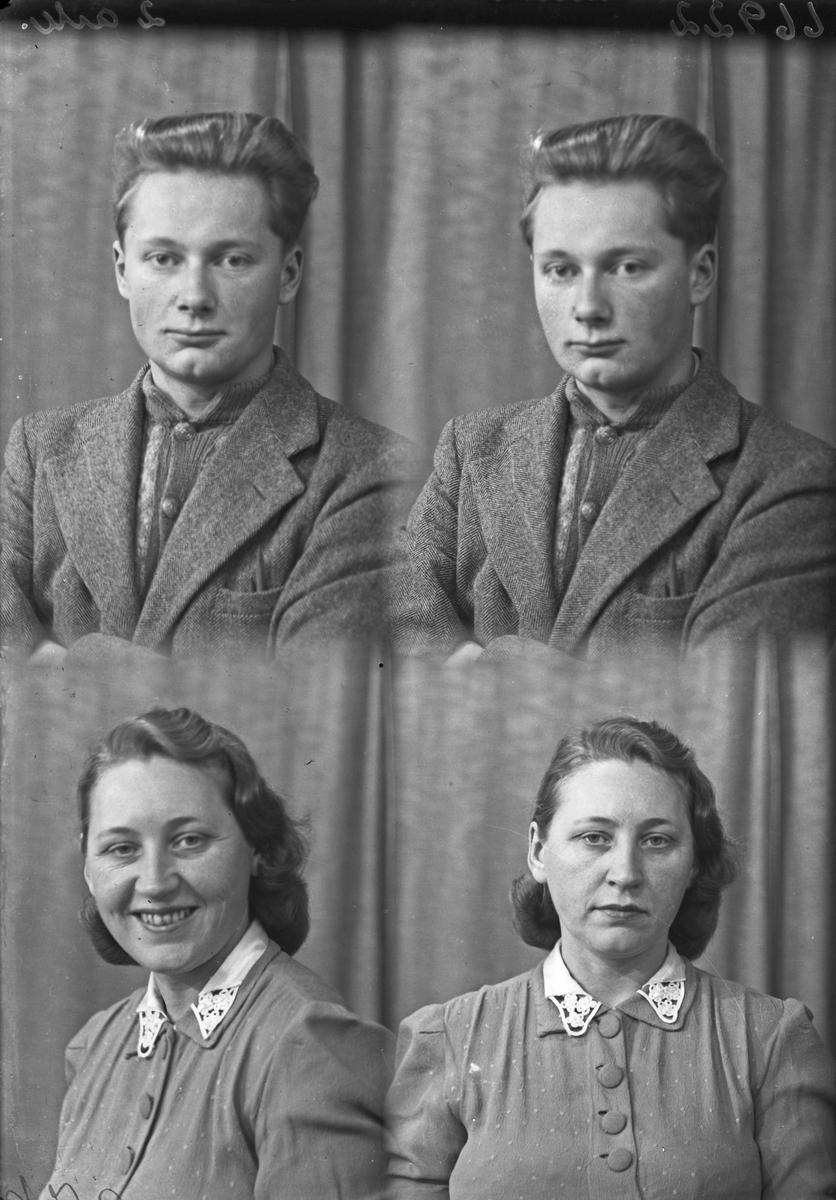 """Portrett. Ung mann og ung kvinne. Bestilt av Ella Indreland. """"Paulsen og Semt"""". Thorvald J. Kyvik."""