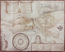 Kort over Spÿdeberg Præstegaarde grundoptaget af Presten Sel