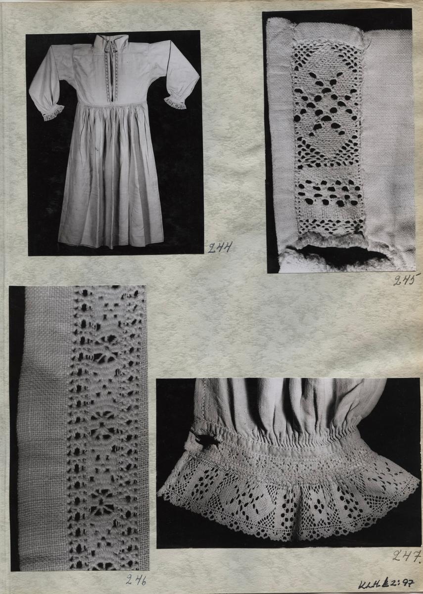 Kartongark med fyra fotografier av särk tre fotografier av förningsduk