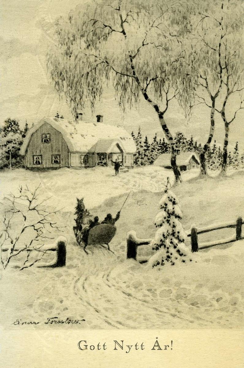 Nyttårskort. Jule- og nyttårshilsen. Tegning i svart/hvitt.Hest og slede på vei opp mot et gårdstun hvor de blir ønsket velkommen av en mann Stemplet 24.12.1927.