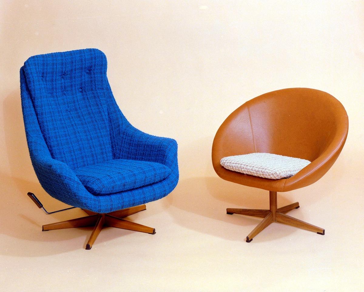 Lenestol/ svingstol. Ulik utførelse: en regulerbar med høg rygg og en lav.