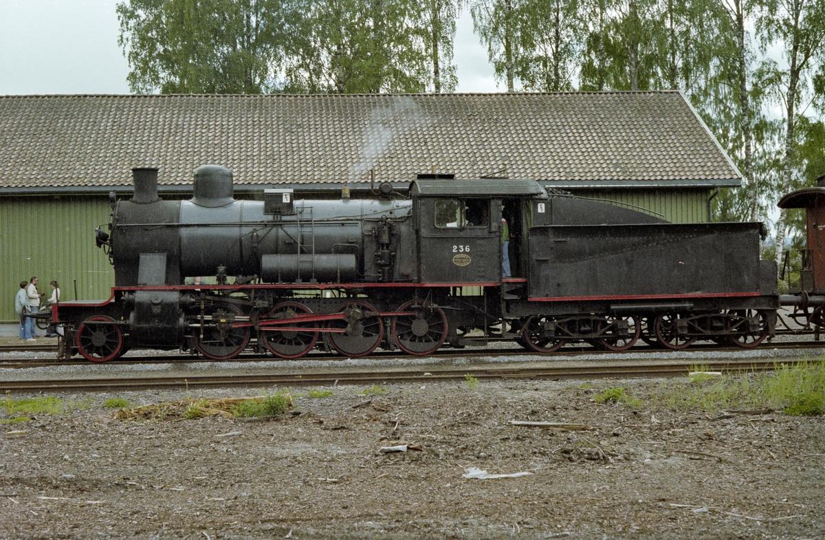 Veterantog på Flisa stasjon. Toget trekkes av damplokomotiv type 24b nr. 236.